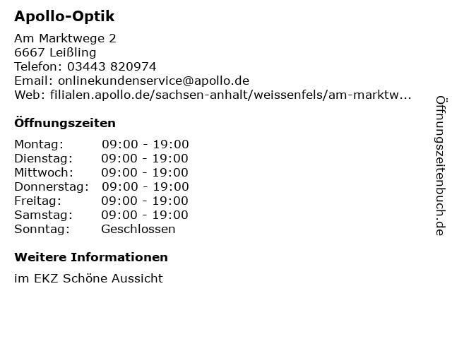 Apollo-Optik Holding GmbH & Co. KG in Leißling: Adresse und Öffnungszeiten