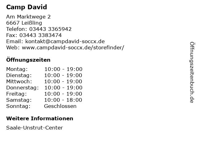 Camp David Store in Leißling: Adresse und Öffnungszeiten