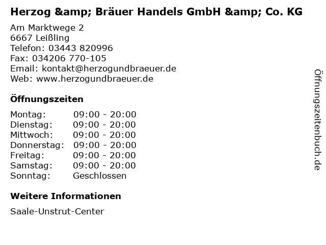 Herzog & Bräuer Handels GmbH & Co. KG in Leißling: Adresse und Öffnungszeiten