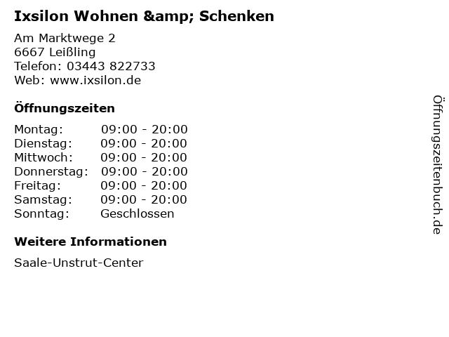 Ixsilon Wohnen & Schenken in Leißling: Adresse und Öffnungszeiten