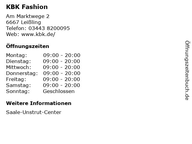 KBK Fashion in Leißling: Adresse und Öffnungszeiten