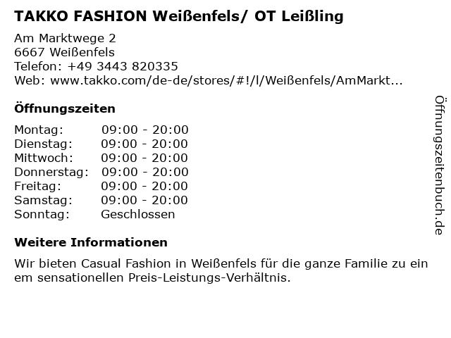 Takko Fashion in Leißling: Adresse und Öffnungszeiten