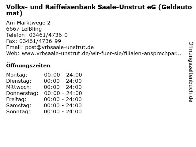 Volks- und Raiffeisenbank Saale-Unstrut eG (Geldautomat) in Leißling: Adresse und Öffnungszeiten