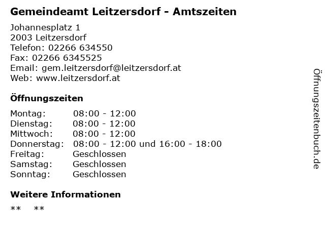 Gemeindeamt Leitzersdorf - Amtszeiten in Leitzersdorf: Adresse und Öffnungszeiten