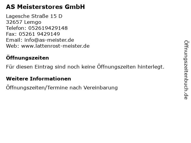 AS Meisterstores GmbH in Lemgo: Adresse und Öffnungszeiten