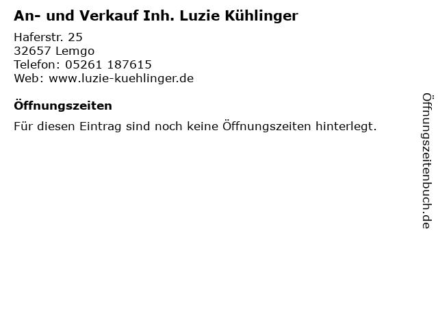 An- und Verkauf Inh. Luzie Kühlinger in Lemgo: Adresse und Öffnungszeiten