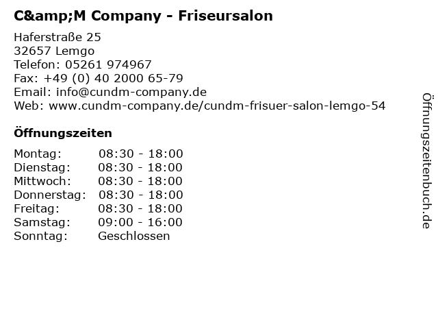 ᐅ Offnungszeiten C M Company Friseursalon Haferstrasse 25 In Lemgo