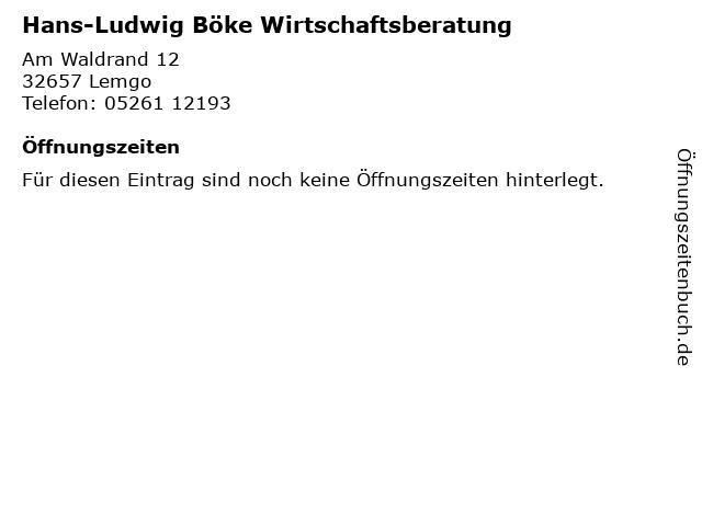 Hans-Ludwig Böke Wirtschaftsberatung in Lemgo: Adresse und Öffnungszeiten