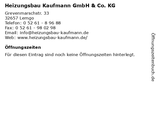 Heizungsbau Kaufmann GmbH & Co. KG in Lemgo: Adresse und Öffnungszeiten