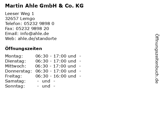 Martin Ahle GmbH & Co. KG in Lemgo: Adresse und Öffnungszeiten