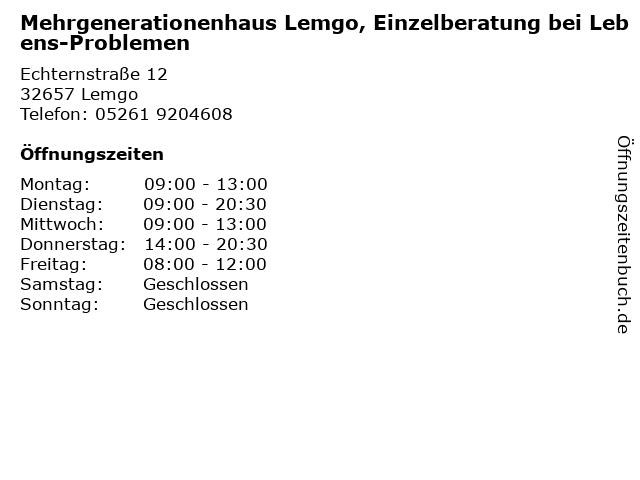 Mehrgenerationenhaus Lemgo, Einzelberatung bei Lebens-Problemen in Lemgo: Adresse und Öffnungszeiten