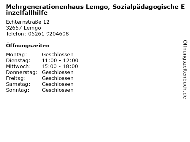 Mehrgenerationenhaus Lemgo, Sozialpädagogische Einzelfallhilfe in Lemgo: Adresse und Öffnungszeiten