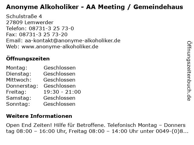 Anonyme Alkoholiker - AA Meeting / Gemeindehaus in Lemwerder: Adresse und Öffnungszeiten