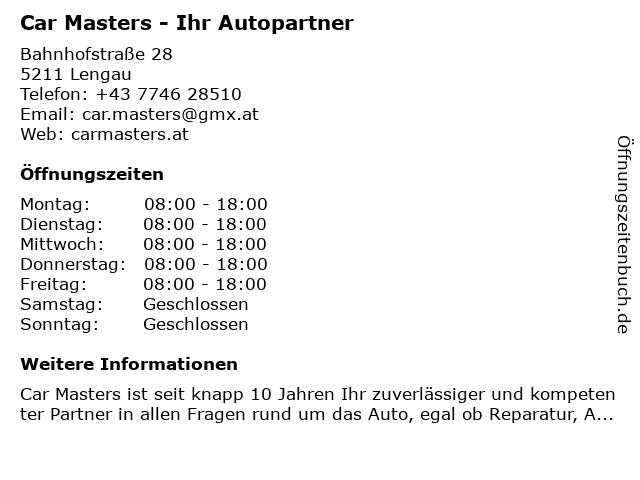 Car Masters - Ihr Autopartner in Lengau: Adresse und Öffnungszeiten
