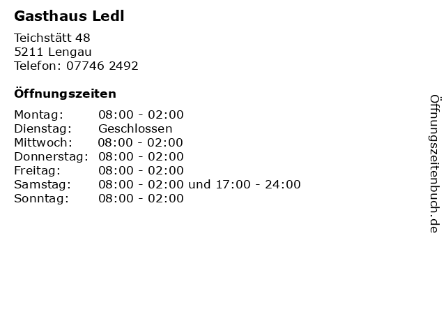 Gasthaus Ledl in Lengau: Adresse und Öffnungszeiten