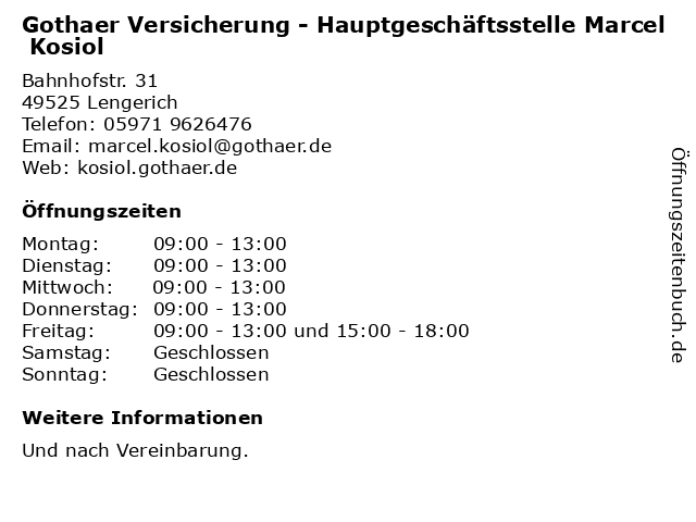 Gothaer Versicherung - Hauptgeschäftsstelle Marcel Kosiol in Lengerich: Adresse und Öffnungszeiten