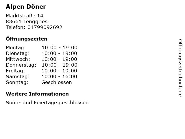 Alpen Döner in Lenggries: Adresse und Öffnungszeiten