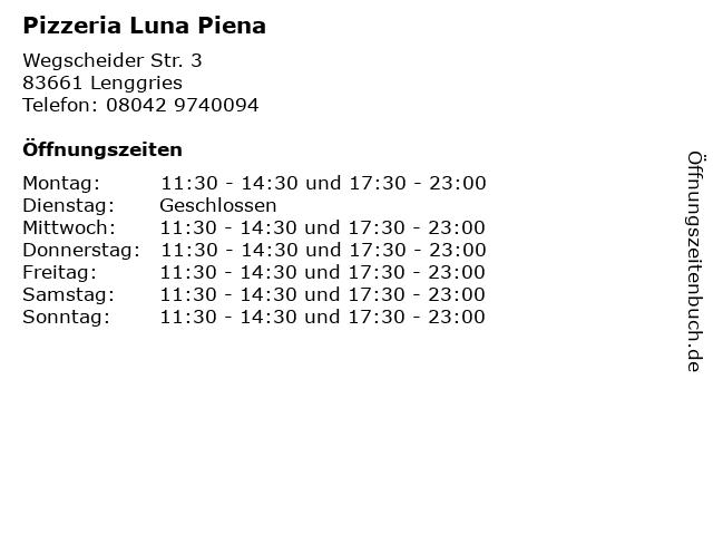 Pizzeria Luna Piena in Lenggries: Adresse und Öffnungszeiten