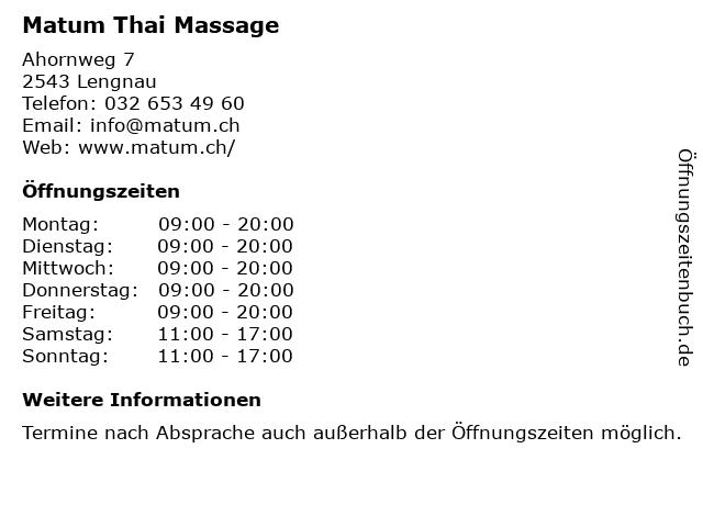 Matum Thai Massage in Lengnau: Adresse und Öffnungszeiten