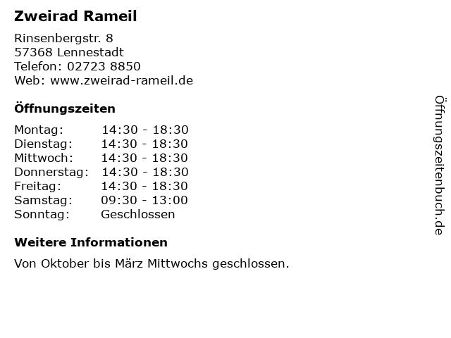 Zweirad Rameil in Lennestadt: Adresse und Öffnungszeiten