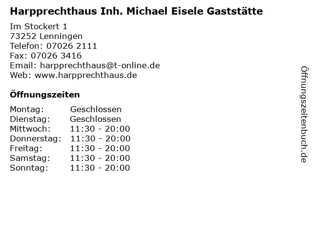 Harpprechthaus Inh. Michael Eisele Gaststätte in Lenningen: Adresse und Öffnungszeiten