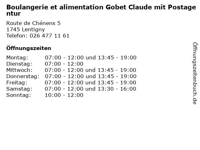 Boulangerie et alimentation Gobet Claude mit Postagentur in Lentigny: Adresse und Öffnungszeiten
