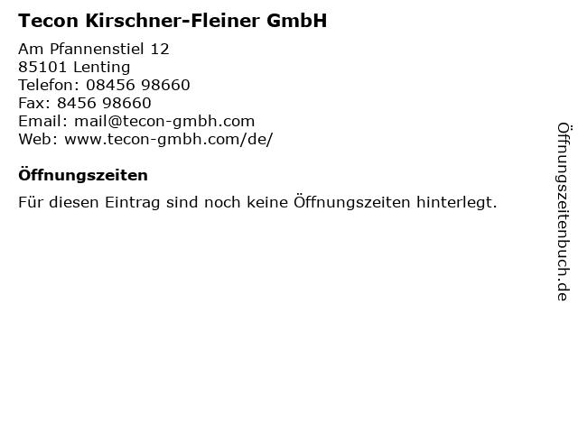 Tecon Kirschner-Fleiner GmbH in Lenting: Adresse und Öffnungszeiten