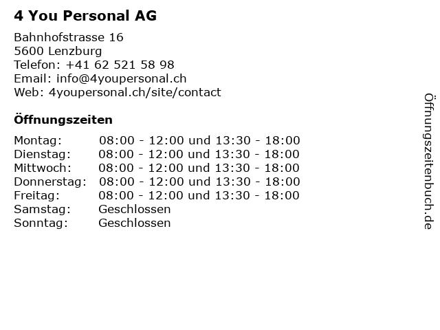 4 You Personal AG in Lenzburg: Adresse und Öffnungszeiten