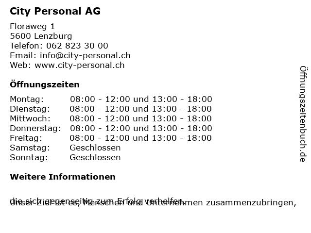 City Personal AG in Lenzburg: Adresse und Öffnungszeiten