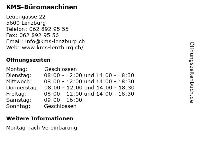 KMS-Büromaschinen in Lenzburg: Adresse und Öffnungszeiten