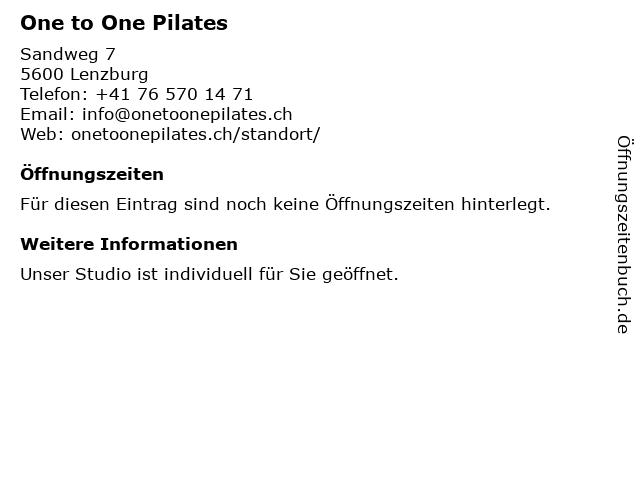 One to One Pilates in Lenzburg: Adresse und Öffnungszeiten