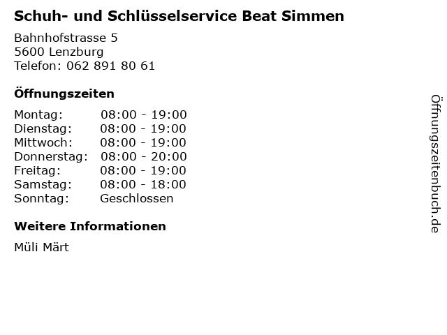 Schuh- und Schlüsselservice Beat Simmen in Lenzburg: Adresse und Öffnungszeiten