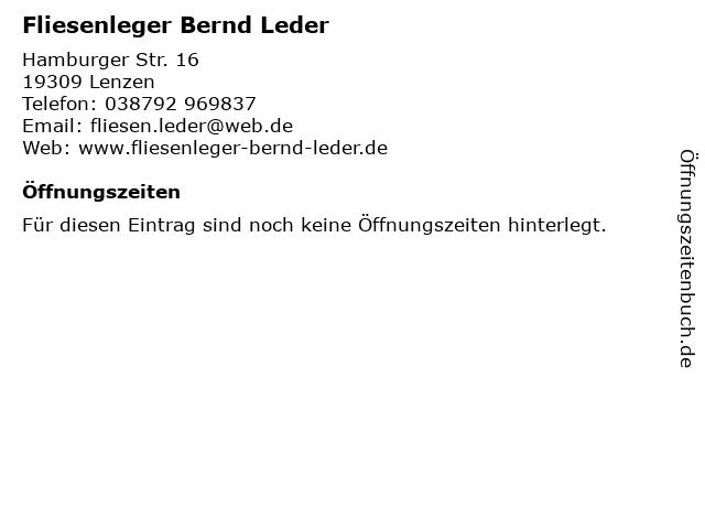 Fliesenleger Bernd Leder in Lenzen: Adresse und Öffnungszeiten