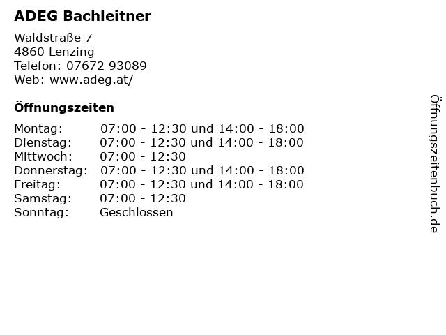 ADEG Bachleitner in Lenzing: Adresse und Öffnungszeiten