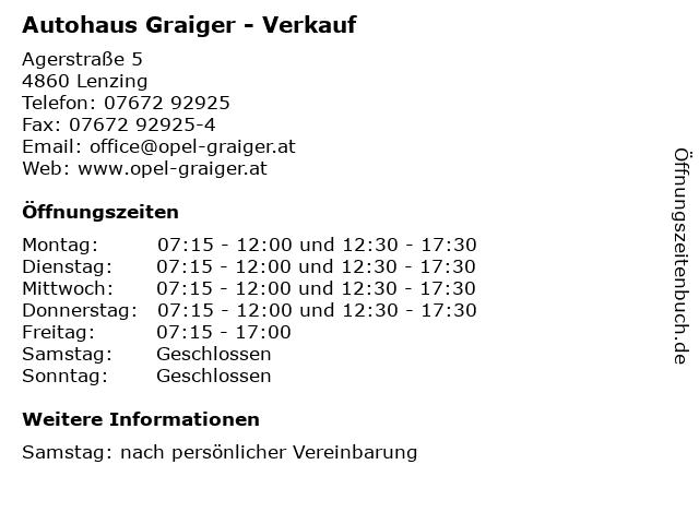 Autohaus Graiger - Verkauf in Lenzing: Adresse und Öffnungszeiten