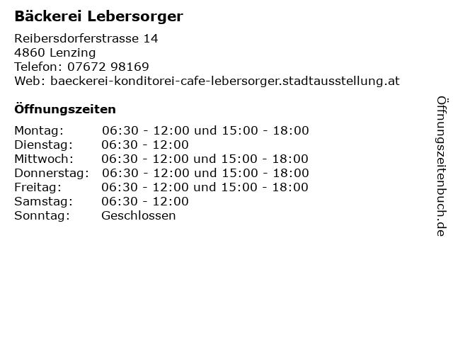 Bäckerei Lebersorger in Lenzing: Adresse und Öffnungszeiten
