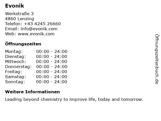 Evonik in Lenzing: Adresse und Öffnungszeiten