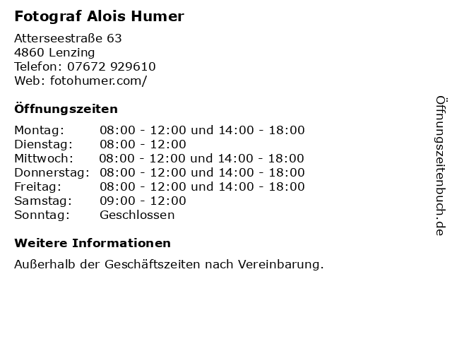 Fotograf Alois Humer in Lenzing: Adresse und Öffnungszeiten