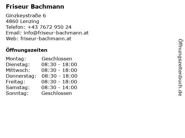 Friseur Bachmann in Lenzing: Adresse und Öffnungszeiten