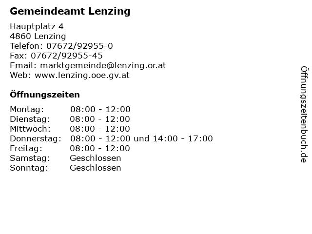 Gemeindeamt Lenzing in Lenzing: Adresse und Öffnungszeiten