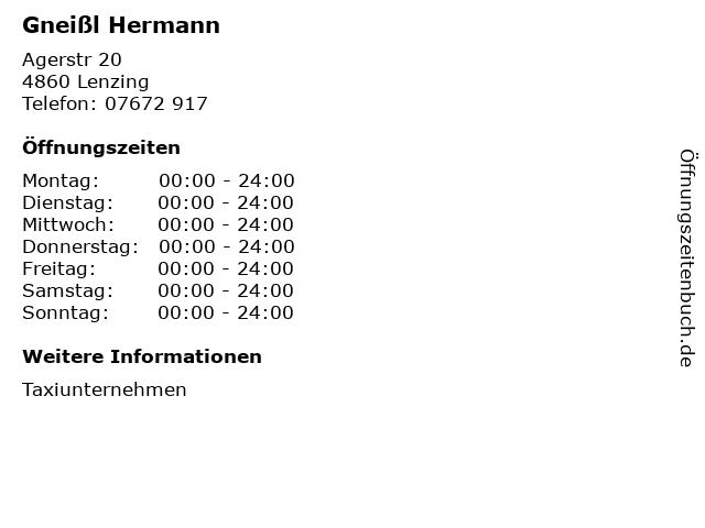 Gneißl Hermann in Lenzing: Adresse und Öffnungszeiten