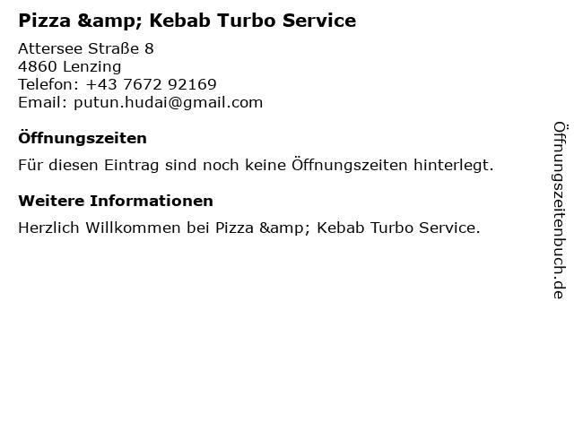 Pizza & Kebab Turbo Service in Lenzing: Adresse und Öffnungszeiten