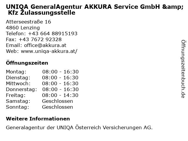 UNIQA GeneralAgentur AKKURA Service GmbH & Kfz Zulassungsstelle in Lenzing: Adresse und Öffnungszeiten