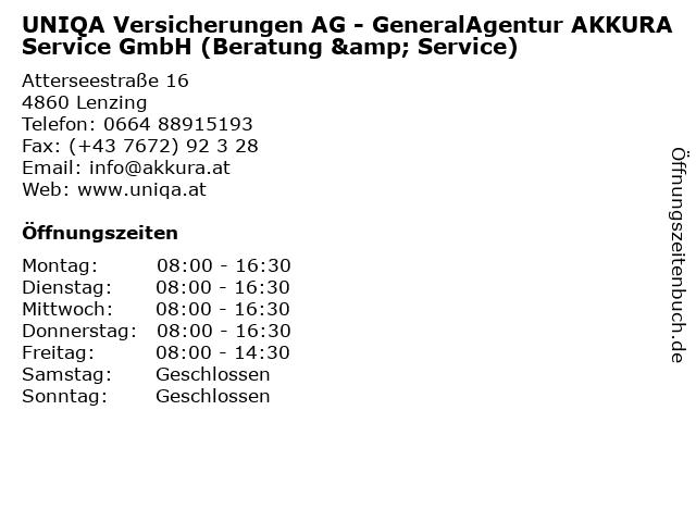 UNIQA Versicherungen AG - GeneralAgentur AKKURA Service GmbH (Beratung & Service) in Lenzing: Adresse und Öffnungszeiten