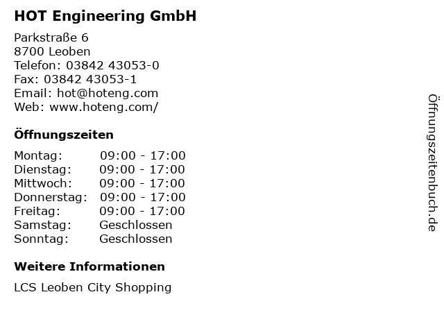HOT Engineering GmbH in Leoben: Adresse und Öffnungszeiten
