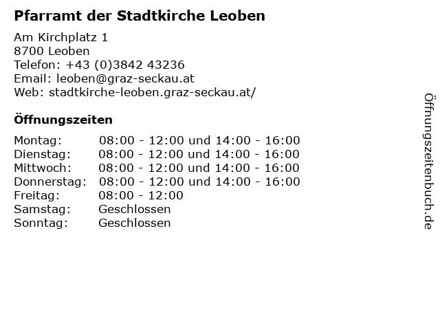 Pfarramt der Stadtkirche Leoben in Leoben: Adresse und Öffnungszeiten