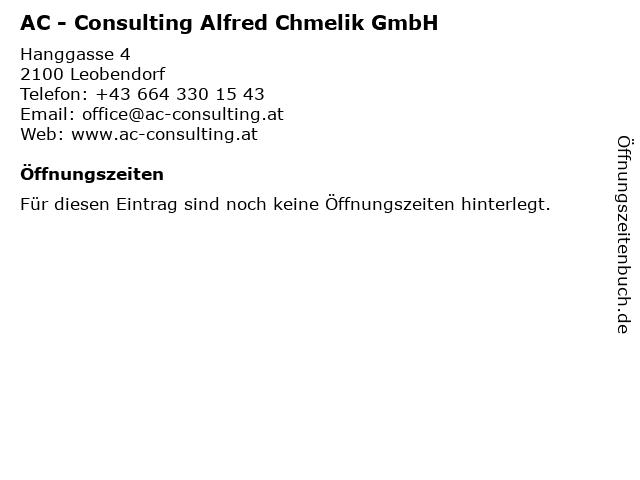 AC - Consulting Alfred Chmelik GmbH in Leobendorf: Adresse und Öffnungszeiten