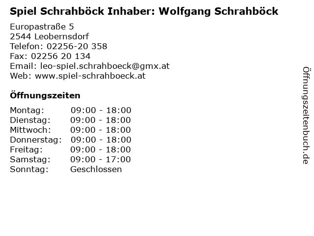 Spiel Schrahböck Inhaber: Wolfgang Schrahböck in Leobernsdorf: Adresse und Öffnungszeiten