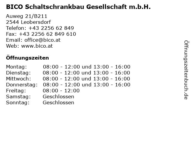 BICO Schaltschrankbau Gesellschaft m.b.H. in Leobersdorf: Adresse und Öffnungszeiten