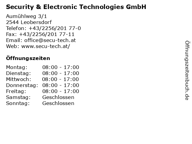 Security & Electronic Technologies GmbH in Leobersdorf: Adresse und Öffnungszeiten